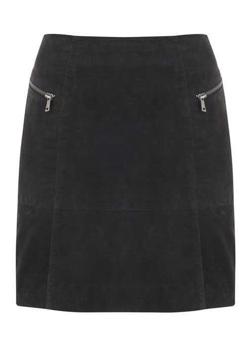 Granite Embossed Croc Skirt - length: mid thigh; pattern: plain; style: straight; waist: mid/regular rise; predominant colour: charcoal; occasions: casual; fibres: leather - 100%; fit: straight cut; pattern type: fabric; texture group: suede; season: a/w 2016; wardrobe: highlight