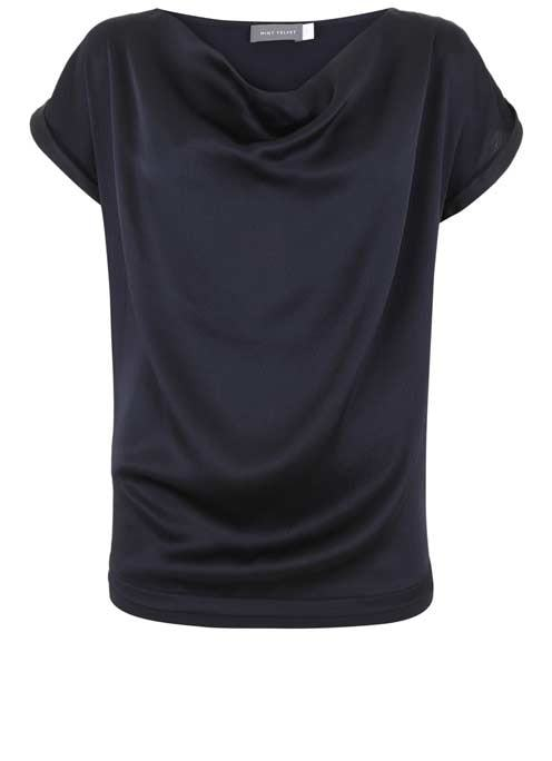 Ink Satin Slouch Tee - neckline: cowl/draped neck; pattern: plain; style: t-shirt; predominant colour: navy; occasions: evening; length: standard; fibres: silk - 100%; fit: loose; sleeve length: short sleeve; sleeve style: standard; texture group: structured shiny - satin/tafetta/silk etc.; pattern type: fabric; season: a/w 2016; wardrobe: event