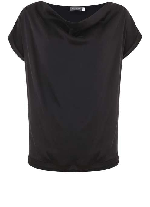 Black Satin Slouch Tee - neckline: cowl/draped neck; pattern: plain; predominant colour: black; occasions: evening; length: standard; style: top; fibres: silk - 100%; fit: loose; sleeve length: short sleeve; sleeve style: standard; texture group: silky - light; pattern type: fabric; season: a/w 2016; wardrobe: event