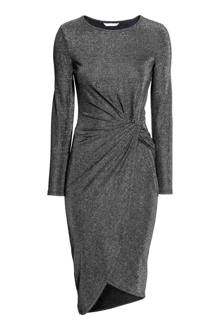 Glittery Dress - style: shift; pattern: plain; predominant colour: charcoal; occasions: evening; length: on the knee; fit: body skimming; fibres: polyester/polyamide - stretch; neckline: crew; sleeve length: long sleeve; sleeve style: standard; pattern type: fabric; texture group: jersey - stretchy/drapey; season: a/w 2016