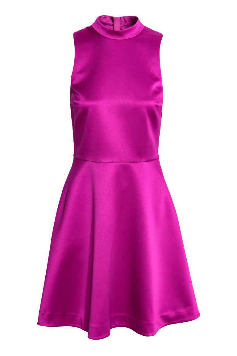 Satin Dress - length: mid thigh; pattern: plain; sleeve style: sleeveless; neckline: high neck; predominant colour: hot pink; occasions: evening; fit: fitted at waist & bust; style: fit & flare; fibres: polyester/polyamide - 100%; sleeve length: sleeveless; texture group: structured shiny - satin/tafetta/silk etc.; pattern type: fabric; season: a/w 2016; wardrobe: event