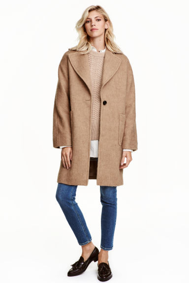 Wool Blend Coat - pattern: plain; fit: loose; style: single breasted; collar: standard lapel/rever collar; length: mid thigh; predominant colour: camel; occasions: casual, creative work; fibres: wool - mix; sleeve length: long sleeve; sleeve style: standard; collar break: low/open; pattern type: fabric; texture group: woven bulky/heavy; wardrobe: basic; season: a/w 2016