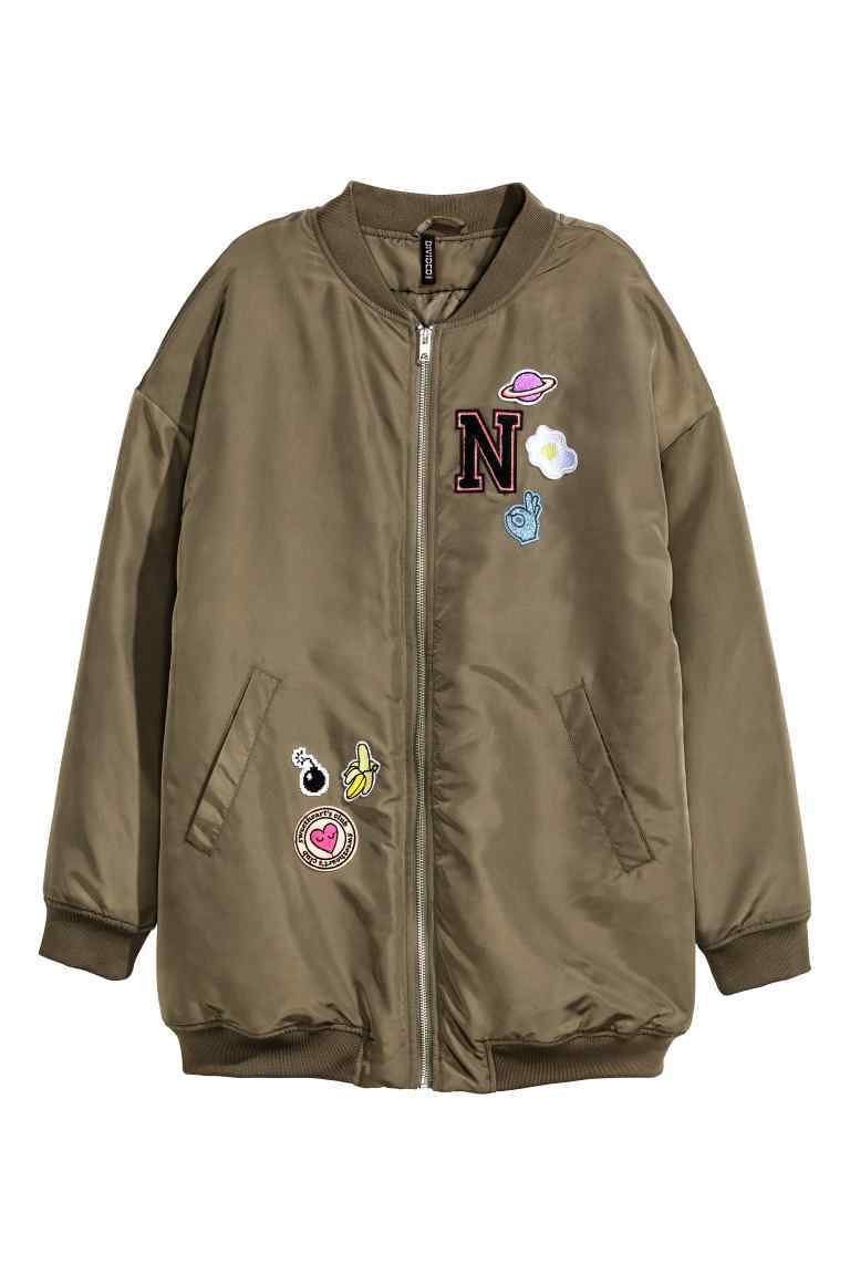 Oversized Bomber Jacket - pattern: plain; collar: round collar/collarless; style: bomber; secondary colour: pink; predominant colour: khaki; occasions: casual, creative work; length: standard; fit: straight cut (boxy); fibres: polyester/polyamide - 100%; sleeve length: long sleeve; sleeve style: standard; collar break: high; pattern type: fabric; texture group: other - light to midweight; embellishment: applique; multicoloured: multicoloured; season: a/w 2016