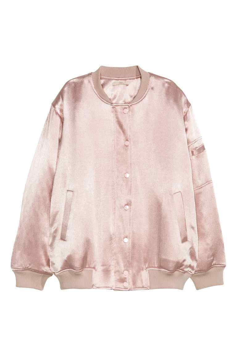 Satin Bomber Jacket - pattern: plain; collar: round collar/collarless; style: bomber; predominant colour: blush; occasions: casual; length: standard; fit: tailored/fitted; fibres: polyester/polyamide - 100%; sleeve length: long sleeve; sleeve style: standard; texture group: structured shiny - satin/tafetta/silk etc.; collar break: high; pattern type: fabric; wardrobe: basic; season: a/w 2016