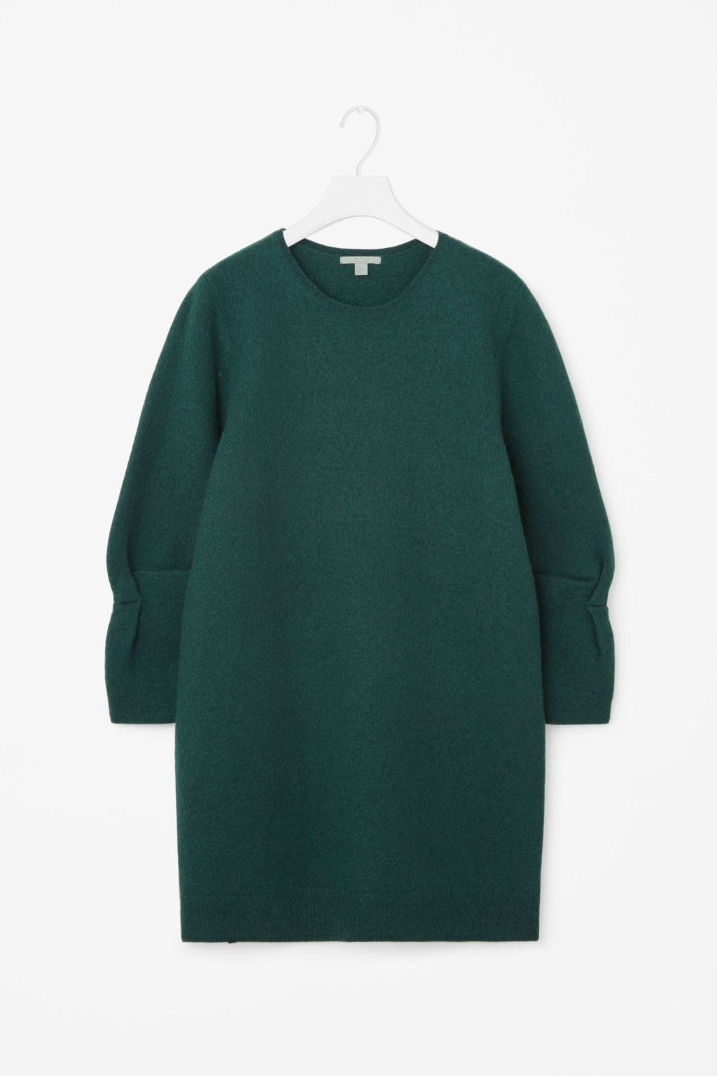 Dress With Twisted Sleeves - style: shift; length: mini; pattern: plain; sleeve style: balloon; predominant colour: dark green; occasions: casual, creative work; fit: straight cut; fibres: wool - 100%; neckline: crew; sleeve length: long sleeve; pattern type: fabric; texture group: woven bulky/heavy; season: a/w 2016; wardrobe: highlight; trends: statement sleeves