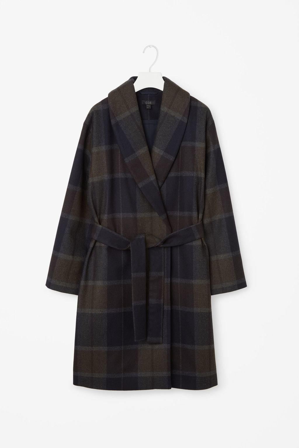 Shawl Collared Coat - pattern: checked/gingham; fit: loose; style: wrap around; collar: standard lapel/rever collar; length: mid thigh; predominant colour: navy; secondary colour: khaki; occasions: casual; fibres: wool - mix; waist detail: belted waist/tie at waist/drawstring; sleeve length: long sleeve; sleeve style: standard; collar break: medium; pattern type: fabric; texture group: woven bulky/heavy; multicoloured: multicoloured; season: a/w 2016; wardrobe: highlight