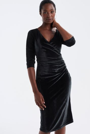 Tall Velvet Wrap Front Dress At - style: faux wrap/wrap; length: below the knee; neckline: v-neck; pattern: plain; predominant colour: black; occasions: evening; fit: body skimming; fibres: polyester/polyamide - 100%; sleeve length: 3/4 length; sleeve style: standard; pattern type: fabric; texture group: velvet/fabrics with pile; season: a/w 2016; wardrobe: event