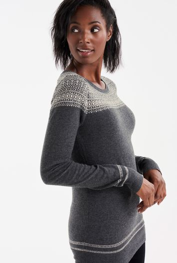Tall Shimmer Fairisle Sweater At - length: below the bottom; style: sweat top; secondary colour: white; predominant colour: mid grey; occasions: casual; fibres: polyester/polyamide - mix; fit: body skimming; neckline: crew; pattern: fairisle; sleeve length: long sleeve; sleeve style: standard; texture group: knits/crochet; pattern type: knitted - fine stitch; multicoloured: multicoloured; season: a/w 2016; wardrobe: highlight