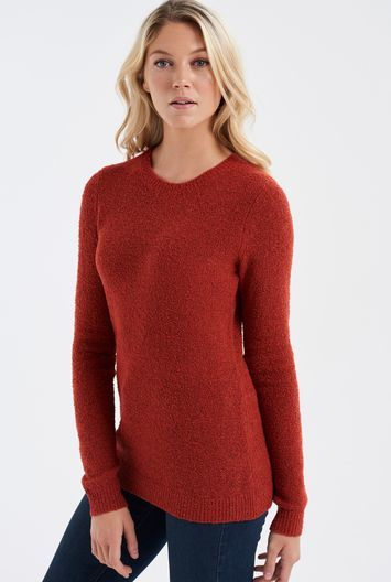 Tall Boucle Textured Sweater At - pattern: plain; style: standard; predominant colour: true red; occasions: casual; length: standard; fibres: wool - mix; fit: slim fit; neckline: crew; sleeve length: long sleeve; sleeve style: standard; texture group: knits/crochet; pattern type: knitted - fine stitch; season: a/w 2016; wardrobe: highlight