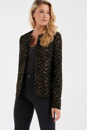 Tall Foiled Boucle Jacket At - collar: round collar/collarless; style: boxy; pattern: herringbone/tweed; predominant colour: khaki; secondary colour: gold; occasions: evening, creative work; length: standard; fit: straight cut (boxy); fibres: polyester/polyamide - mix; sleeve length: long sleeve; sleeve style: standard; collar break: low/open; pattern type: fabric; pattern size: standard; texture group: tweed - light/midweight; embellishment: sequins; season: a/w 2016; wardrobe: highlight