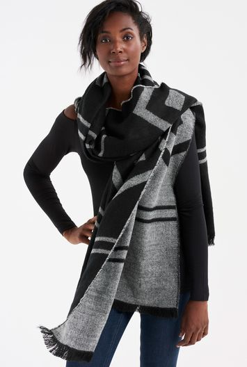 Tall Geometric Patterned Scarf At - secondary colour: mid grey; predominant colour: black; occasions: casual; type of pattern: standard; style: regular; size: large; material: fabric; pattern: patterned/print; multicoloured: multicoloured; season: a/w 2016; wardrobe: highlight