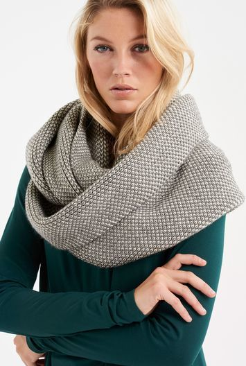 Tall Birdseye Knitted Snood At - predominant colour: light grey; occasions: casual; type of pattern: heavy; style: snood; size: large; material: knits; pattern: patterned/print; season: a/w 2016; wardrobe: highlight