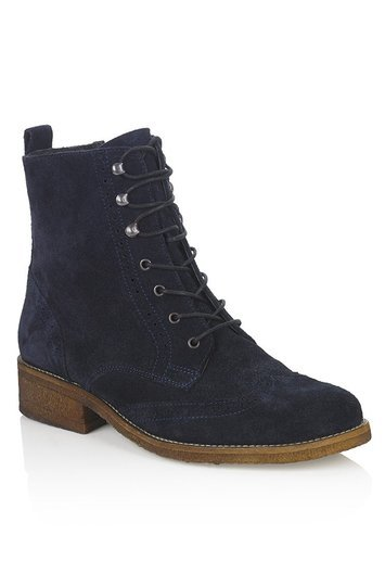 Tall Taurus Suede Brogue Boots At - predominant colour: navy; occasions: casual; material: suede; heel height: flat; heel: block; toe: round toe; boot length: ankle boot; style: standard; finish: plain; pattern: plain; season: a/w 2016