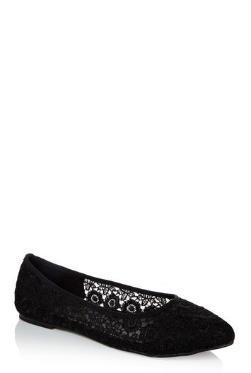 Tall Lts Aria Almond Toe Ballerina At - predominant colour: black; occasions: casual; material: lace; heel height: flat; toe: pointed toe; style: ballerinas / pumps; finish: plain; pattern: plain; season: a/w 2016; wardrobe: highlight