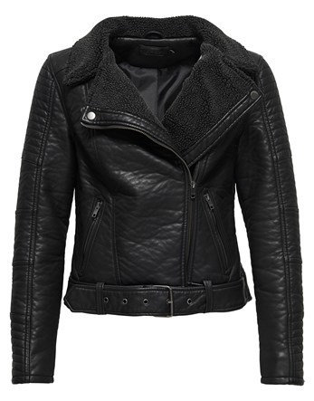 Bonded Faux Leather Biker Jacket - pattern: plain; style: biker; collar: asymmetric biker; fit: slim fit; predominant colour: black; occasions: casual; length: standard; fibres: polyester/polyamide - 100%; sleeve length: long sleeve; sleeve style: standard; texture group: leather; collar break: medium; pattern type: fabric; wardrobe: basic; season: a/w 2016