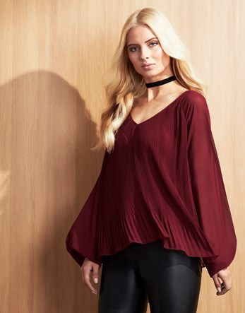 Sheer Blouse - neckline: low v-neck; pattern: plain; sleeve style: balloon; style: blouse; predominant colour: burgundy; occasions: casual, creative work; length: standard; fibres: polyester/polyamide - 100%; fit: loose; sleeve length: long sleeve; pattern type: fabric; texture group: jersey - stretchy/drapey; season: a/w 2016; wardrobe: highlight