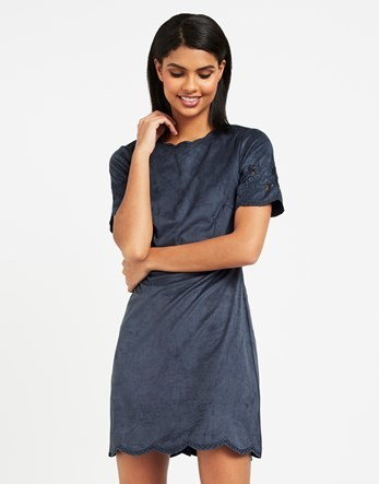 Shift Dress - style: shift; length: mini; pattern: plain; predominant colour: navy; occasions: evening; fit: body skimming; fibres: polyester/polyamide - stretch; neckline: crew; sleeve length: short sleeve; sleeve style: standard; pattern type: fabric; texture group: suede; embellishment: embroidered; season: a/w 2016; wardrobe: event; embellishment location: hem, sleeve/cuff