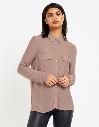 Pocket Shirt - neckline: shirt collar/peter pan/zip with opening; pattern: plain; length: below the bottom; style: shirt; predominant colour: blush; occasions: casual, work, creative work; fibres: polyester/polyamide - 100%; fit: straight cut; sleeve length: long sleeve; sleeve style: standard; texture group: sheer fabrics/chiffon/organza etc.; pattern type: fabric; wardrobe: basic; season: a/w 2016