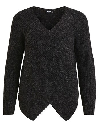 Wrap Knit Jumper - neckline: v-neck; pattern: plain; style: standard; predominant colour: black; occasions: casual, work, creative work; length: standard; fibres: acrylic - mix; fit: standard fit; hip detail: subtle/flattering hip detail; sleeve length: long sleeve; sleeve style: standard; texture group: knits/crochet; pattern type: knitted - fine stitch; wardrobe: basic; season: a/w 2016