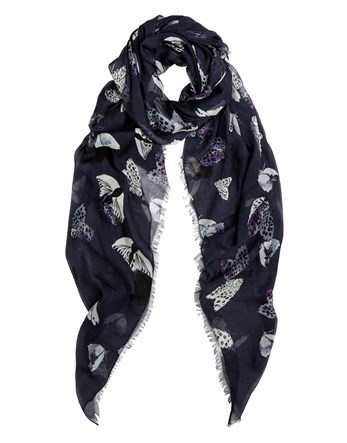 Night Print Scarf - predominant colour: navy; occasions: casual; type of pattern: heavy; style: regular; size: standard; material: fabric; pattern: patterned/print; season: a/w 2016; wardrobe: highlight