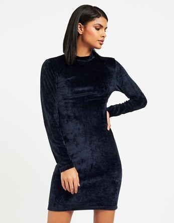 Velvet Short Dress - length: mini; fit: tight; pattern: plain; neckline: high neck; style: bodycon; hip detail: draws attention to hips; predominant colour: navy; occasions: evening; fibres: polyester/polyamide - stretch; sleeve length: long sleeve; sleeve style: standard; pattern type: fabric; texture group: velvet/fabrics with pile; season: a/w 2016; wardrobe: event; trends: velvet