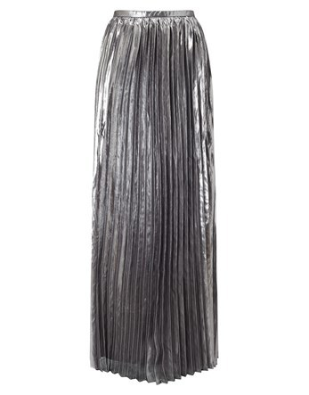 Maxi Metallic Pleated Skirt - pattern: plain; length: ankle length; fit: loose/voluminous; waist: mid/regular rise; predominant colour: silver; occasions: evening; style: maxi skirt; fibres: polyester/polyamide - 100%; pattern type: fabric; texture group: other - light to midweight; pattern size: standard (bottom); season: a/w 2016