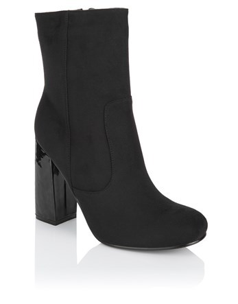 High Block Heel Ankle Boots - predominant colour: black; occasions: casual; material: suede; heel height: high; heel: block; toe: round toe; boot length: ankle boot; style: standard; finish: plain; pattern: plain; season: a/w 2016; wardrobe: highlight