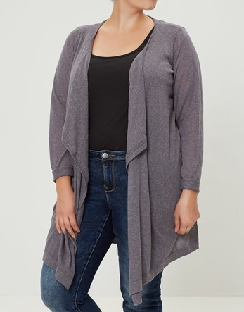 Long Sleeve Knit Cardigan - pattern: plain; neckline: collarless open; style: open front; predominant colour: mid grey; occasions: casual, work, creative work; fit: loose; length: mid thigh; hip detail: dip hem; sleeve length: long sleeve; sleeve style: standard; texture group: knits/crochet; pattern type: knitted - fine stitch; fibres: viscose/rayon - mix; wardrobe: basic; season: a/w 2016
