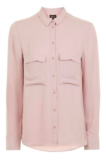 Classic Pocket Shirt - neckline: shirt collar/peter pan/zip with opening; pattern: plain; style: shirt; predominant colour: blush; occasions: casual, creative work; length: standard; fibres: polyester/polyamide - 100%; fit: body skimming; sleeve length: long sleeve; sleeve style: standard; texture group: sheer fabrics/chiffon/organza etc.; pattern type: fabric; wardrobe: basic; season: a/w 2016