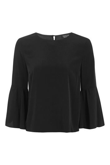 Trumpet Sleeve Blouse - neckline: round neck; sleeve style: bell sleeve; pattern: plain; style: blouse; predominant colour: black; occasions: work, creative work; length: standard; fibres: polyester/polyamide - 100%; fit: body skimming; sleeve length: 3/4 length; pattern type: fabric; texture group: jersey - stretchy/drapey; wardrobe: basic; season: a/w 2016