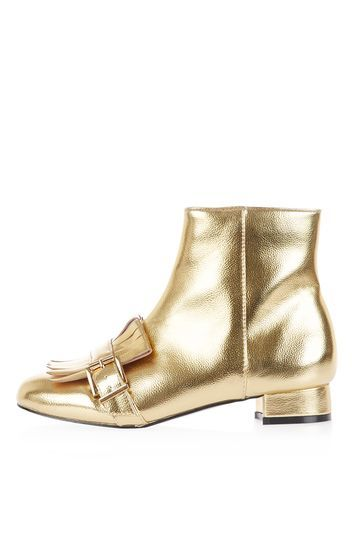 Karamel Loafer Boots - predominant colour: silver; occasions: casual, creative work; material: leather; heel height: mid; heel: block; toe: round toe; boot length: ankle boot; style: standard; finish: metallic; pattern: plain; season: a/w 2016; wardrobe: highlight