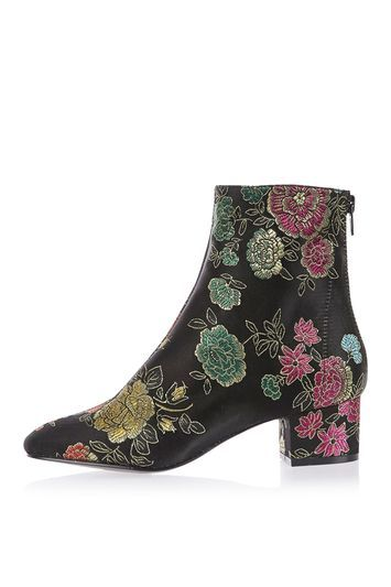 Kobra Embroidered Boots - secondary colour: magenta; predominant colour: black; occasions: casual, creative work; material: faux leather; heel height: mid; heel: block; toe: pointed toe; boot length: ankle boot; style: standard; finish: metallic; pattern: florals; season: a/w 2016; wardrobe: highlight; trends: opulent prints