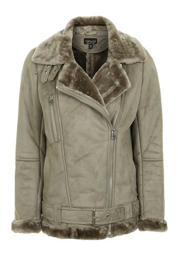 Faux Shearling Biker Jacket - pattern: plain; length: standard; collar: asymmetric biker; fit: slim fit; predominant colour: stone; occasions: casual; fibres: polyester/polyamide - 100%; sleeve length: long sleeve; sleeve style: standard; collar break: medium; pattern type: fabric; texture group: sheepskin; embellishment: fur; style: biker; season: a/w 2016