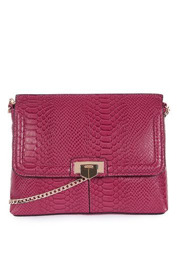 Flip Lock Clutch - predominant colour: hot pink; secondary colour: gold; occasions: casual, creative work; type of pattern: standard; style: clutch; length: across body/long; size: standard; material: faux leather; pattern: plain; finish: plain; season: a/w 2016; wardrobe: highlight