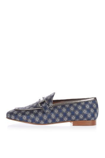 Kendall Loafer - secondary colour: ivory/cream; predominant colour: navy; occasions: casual, creative work; material: fabric; heel height: flat; embellishment: snaffles; toe: round toe; style: loafers; finish: plain; pattern: patterned/print; season: a/w 2016