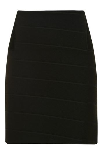 Bandage Ribbed Mini Skirt - length: mini; pattern: plain; fit: tight; waist: high rise; hip detail: draws attention to hips; predominant colour: black; occasions: evening; fibres: polyester/polyamide - stretch; style: tube; texture group: jersey - clingy; pattern type: fabric; season: a/w 2016; wardrobe: event