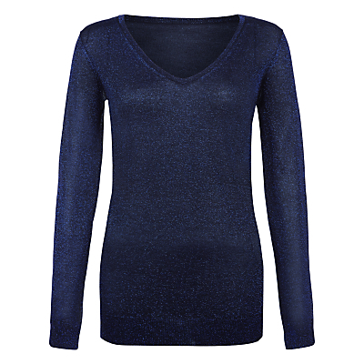 Vita Jumper - neckline: v-neck; pattern: plain; length: below the bottom; style: standard; predominant colour: navy; occasions: casual, creative work; fit: standard fit; sleeve length: long sleeve; sleeve style: standard; texture group: knits/crochet; pattern type: knitted - fine stitch; pattern size: standard; fibres: viscose/rayon - mix; wardrobe: basic; season: a/w 2016