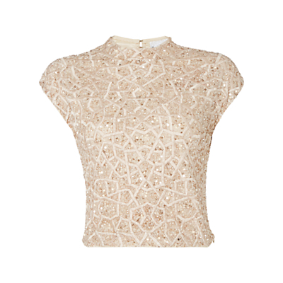 Geometric Embellished Crop Top - sleeve style: capped; pattern: plain; neckline: high neck; length: cropped; predominant colour: champagne; occasions: evening; style: top; fibres: polyester/polyamide - 100%; fit: tailored/fitted; back detail: keyhole/peephole detail at back; sleeve length: short sleeve; pattern type: fabric; texture group: other - light to midweight; embellishment: sequins; season: a/w 2016; wardrobe: event