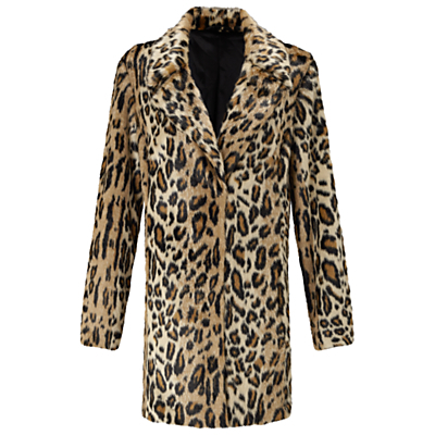 Leopard Print Faux Fur Coat, Mid Brown - fit: loose; collar: standard lapel/rever collar; length: mid thigh; secondary colour: chocolate brown; predominant colour: camel; occasions: casual; fibres: acrylic - mix; style: fur coat; sleeve length: long sleeve; sleeve style: standard; texture group: fur; collar break: medium; pattern type: fabric; pattern: animal print; multicoloured: multicoloured; season: a/w 2016; wardrobe: highlight