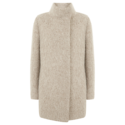 Textured Cocoon Coat, Neutral - collar: funnel; length: mid thigh; predominant colour: stone; occasions: casual, creative work; fit: straight cut (boxy); style: cocoon; fibres: wool - mix; sleeve length: long sleeve; sleeve style: standard; collar break: high; pattern type: fabric; pattern size: light/subtle; texture group: woven bulky/heavy; pattern: marl; wardrobe: basic; season: a/w 2016