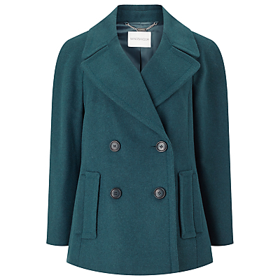 Pu Trim Pea Coat - pattern: plain; length: standard; style: parka; collar: standard lapel/rever collar; predominant colour: teal; occasions: casual, creative work; fit: straight cut (boxy); fibres: polyester/polyamide - stretch; sleeve length: long sleeve; sleeve style: standard; collar break: medium; pattern type: fabric; texture group: woven bulky/heavy; season: a/w 2016; wardrobe: highlight
