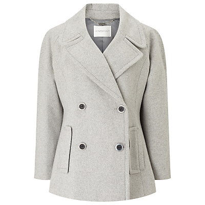 Pu Trim Pea Coat - pattern: plain; length: standard; style: parka; collar: standard lapel/rever collar; predominant colour: light grey; occasions: casual, work, creative work; fit: straight cut (boxy); fibres: polyester/polyamide - stretch; sleeve length: long sleeve; sleeve style: standard; collar break: medium; pattern type: fabric; pattern size: standard; texture group: woven bulky/heavy; season: a/w 2016
