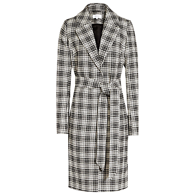 Rowan Textured Check Coat, Black/White - pattern: checked/gingham; length: on the knee; style: wrap around; collar: standard lapel/rever collar; secondary colour: white; predominant colour: black; fit: tailored/fitted; fibres: cotton - 100%; waist detail: belted waist/tie at waist/drawstring; sleeve length: long sleeve; sleeve style: standard; collar break: medium; pattern type: fabric; pattern size: standard; texture group: woven bulky/heavy; occasions: creative work; season: a/w 2016