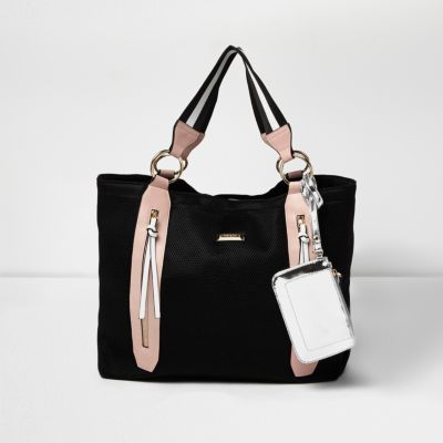 Womens Black Zip Sports Shopper Bag - secondary colour: blush; predominant colour: black; occasions: casual; type of pattern: standard; style: tote; length: shoulder (tucks under arm); size: oversized; material: faux leather; pattern: plain; finish: plain; multicoloured: multicoloured; wardrobe: investment; season: a/w 2016