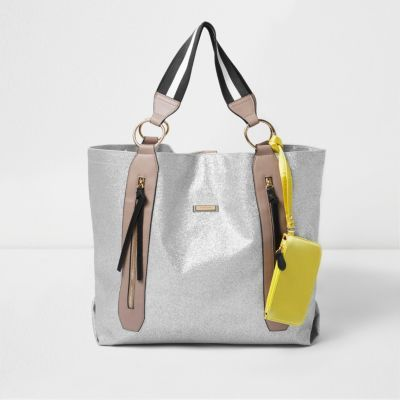 Womens Silver Zip Sports Shopper Bag - secondary colour: camel; predominant colour: silver; occasions: casual, creative work; type of pattern: standard; style: tote; length: handle; size: oversized; material: faux leather; pattern: plain; finish: patent; season: a/w 2016; wardrobe: highlight
