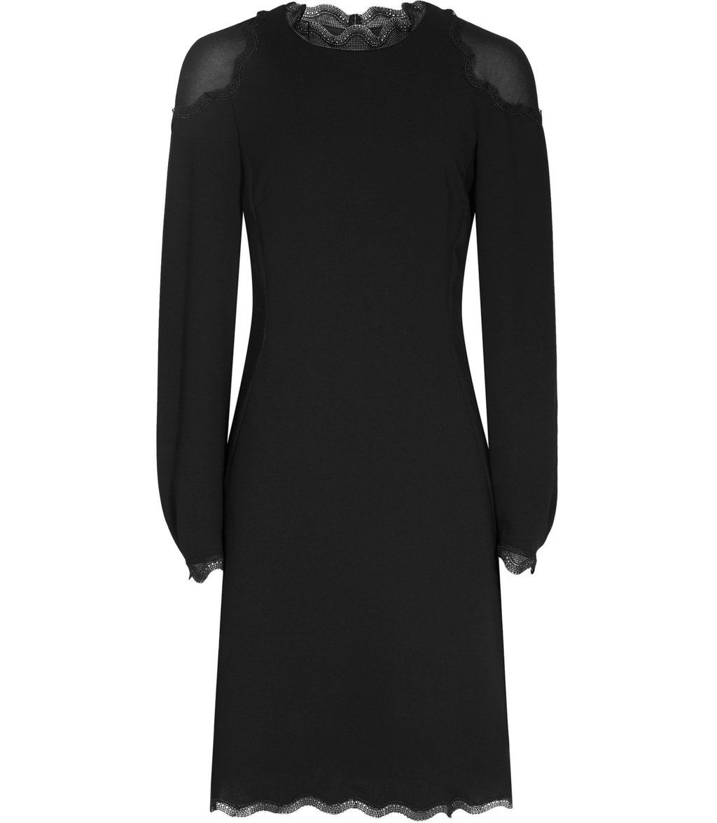 Ludervine Womens Lace Detail Dress In Black - style: shift; length: mid thigh; fit: tailored/fitted; pattern: plain; predominant colour: black; occasions: evening, occasion; fibres: polyester/polyamide - 100%; neckline: crew; sleeve length: long sleeve; sleeve style: standard; texture group: crepes; pattern type: fabric; embellishment: lace; season: a/w 2016; wardrobe: event; embellishment location: neck