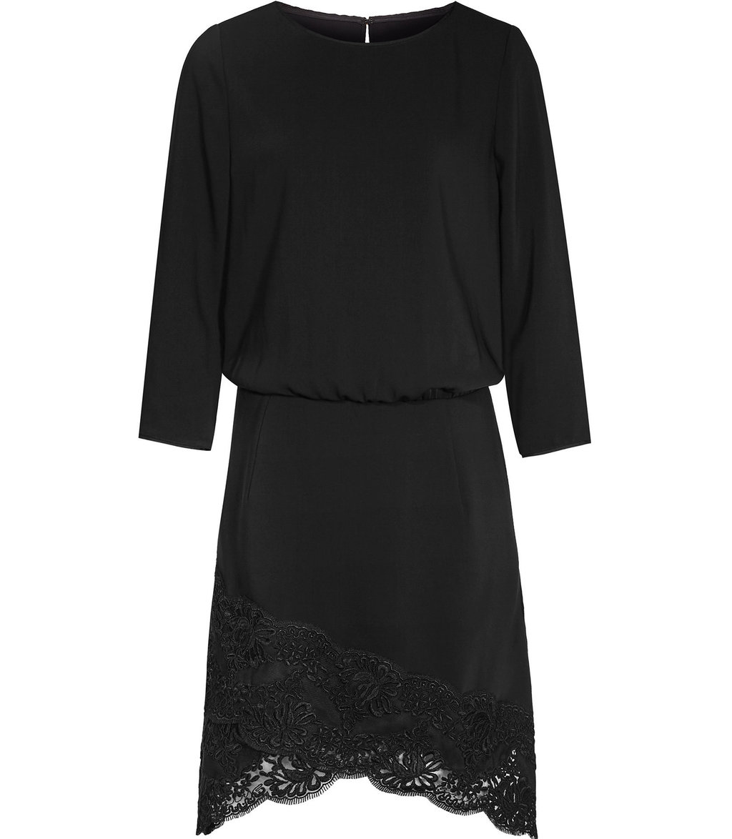 Marie Womens Lace Hem Dress In Black - length: mid thigh; sleeve style: dolman/batwing; fit: fitted at waist; pattern: plain; style: blouson; predominant colour: black; occasions: evening; fibres: polyester/polyamide - 100%; neckline: crew; hip detail: added detail/embellishment at hip; sleeve length: 3/4 length; texture group: crepes; pattern type: fabric; embellishment: lace; season: a/w 2016; wardrobe: event