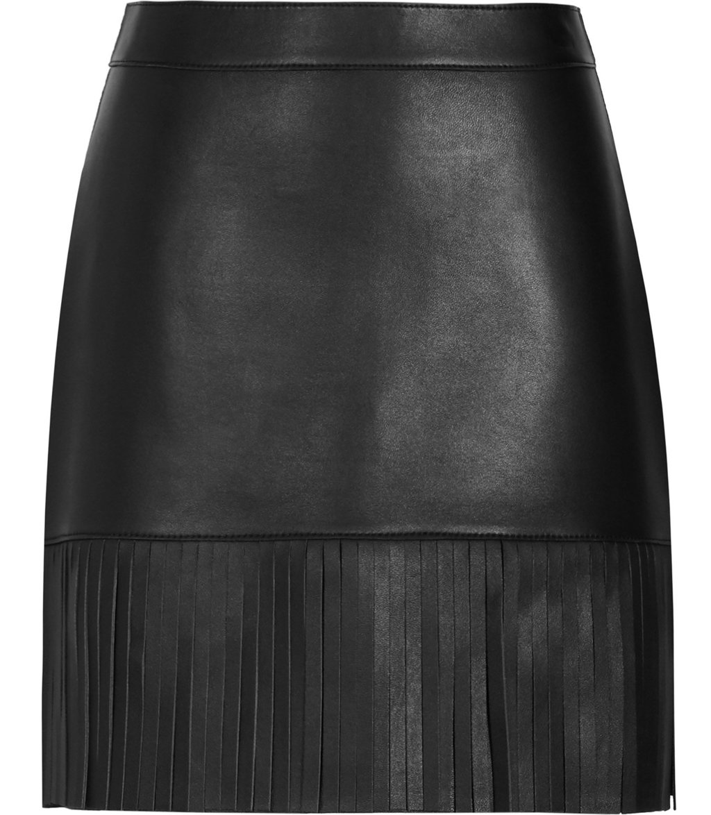 Hailee Womens Leather Fringe Skirt In Black - length: mid thigh; pattern: plain; style: pencil; fit: tailored/fitted; waist: mid/regular rise; predominant colour: black; occasions: evening, creative work; fibres: leather - 100%; texture group: leather; pattern type: fabric; embellishment: fringing; season: a/w 2016; wardrobe: highlight; embellishment location: hem