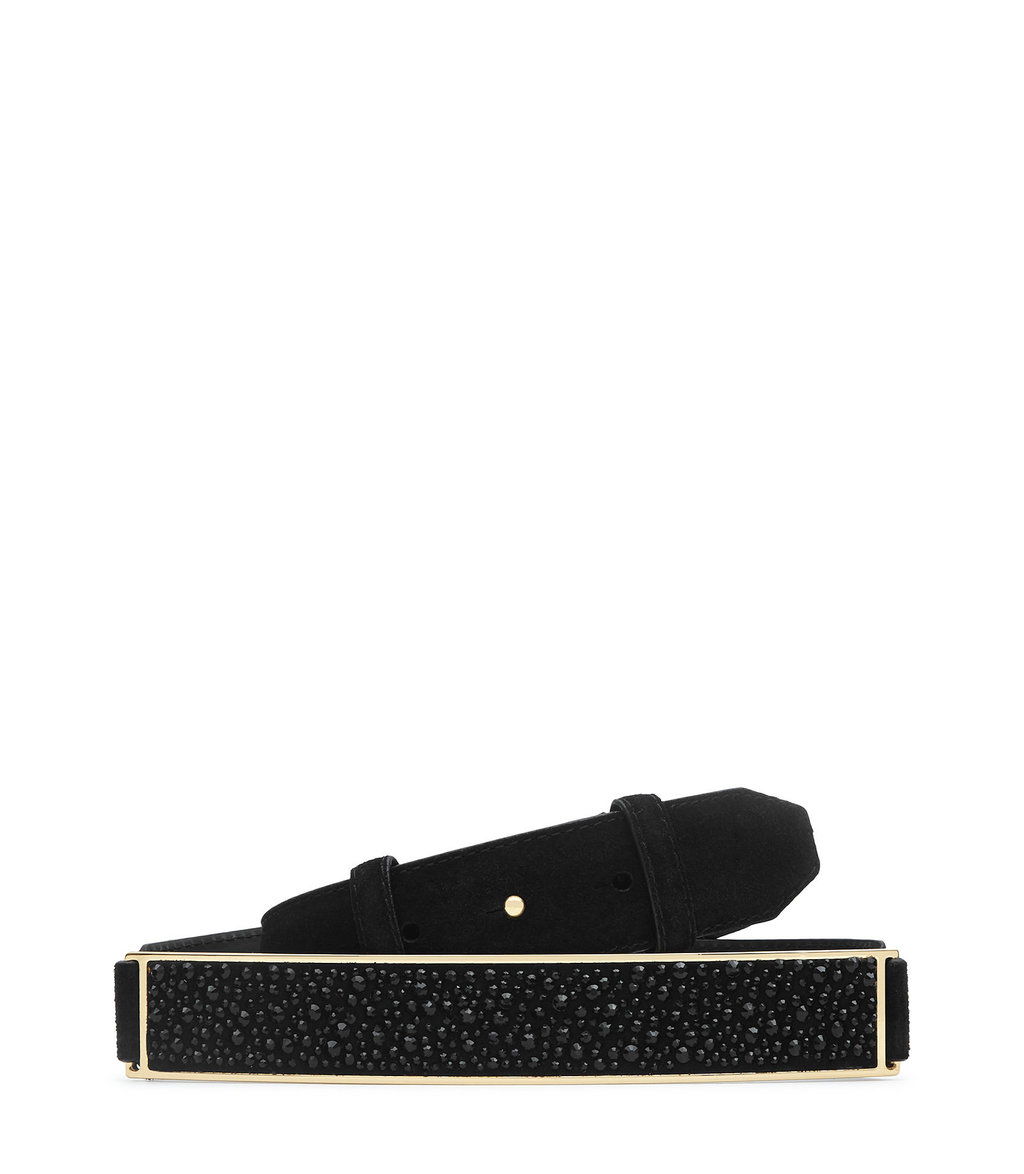 Roxie Womens Crystal Studded Belt In Black - predominant colour: black; occasions: evening, creative work; type of pattern: standard; style: classic; size: standard; worn on: hips; material: leather; pattern: plain; finish: plain; embellishment: jewels/stone; season: a/w 2016