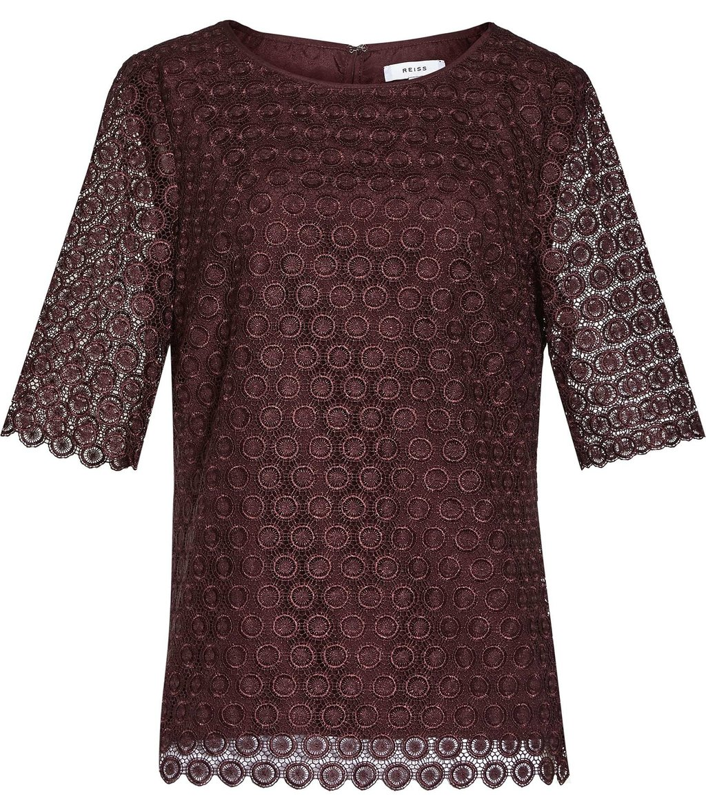 Dee Womens Short Sleeve Lace Top In Red - neckline: round neck; predominant colour: burgundy; occasions: evening; length: standard; style: top; fibres: polyester/polyamide - 100%; fit: straight cut; back detail: keyhole/peephole detail at back; sleeve length: short sleeve; sleeve style: standard; texture group: lace; pattern type: fabric; pattern size: standard; pattern: patterned/print; season: a/w 2016; wardrobe: event